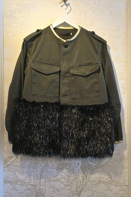 Harvey Faircloth Metallic Leather/Faux Fur Refurbished Army Jacket