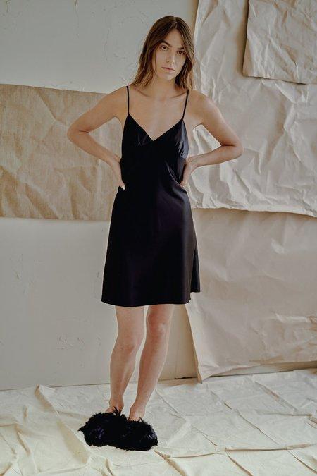 The Great Eros Ereni Pieced Short Slip in Black