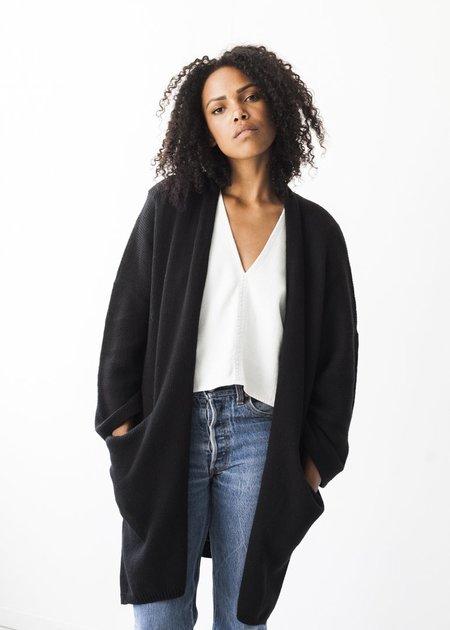 Bare Knitwear Kimono Coat in Black