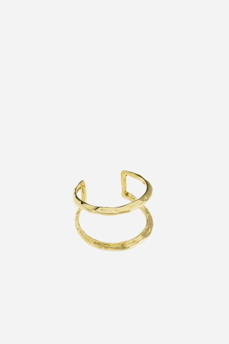Odette New York Ridge Stack Ring in Brass