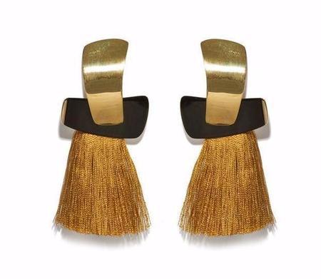 Lizzie Fortunato Totem Tassel Earrings in Ochre