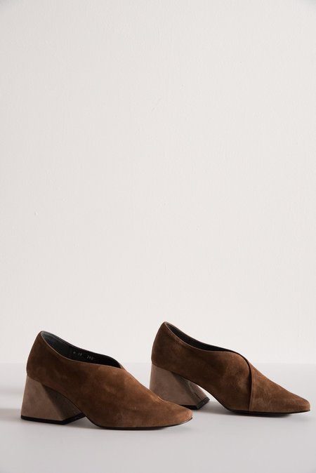 Rejina Pyo Suede Wrap with Contrast Block Heel in Dark Mocha/Oat