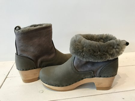 "No.6 5"" Shearling Clog Boot on Mid Heel in Storm Suede"