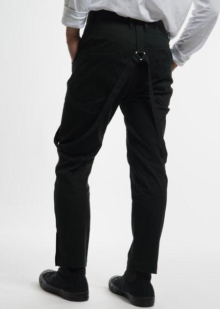 Helmut Lang Dark Green Crop Suspender Trousers