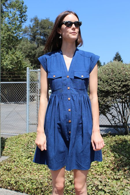 Heinui Neva Dress Indigo Overdyed Chambray