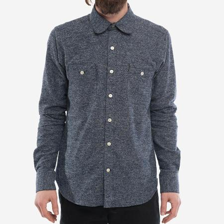 18 Waits The Woodsman Pocket Shirt - Navy Melange Flannel