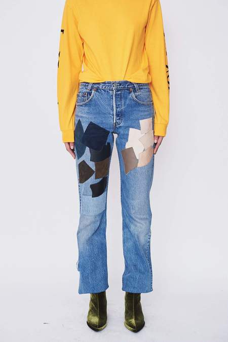 B Sides Leather Patchwork Jeans