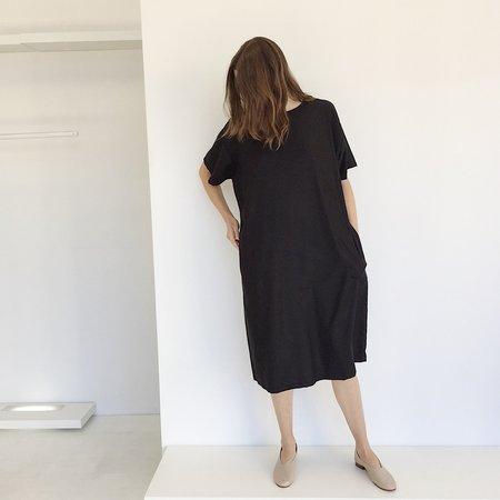 Laurs Kemp Raw Silk T-shirt Dress - Black