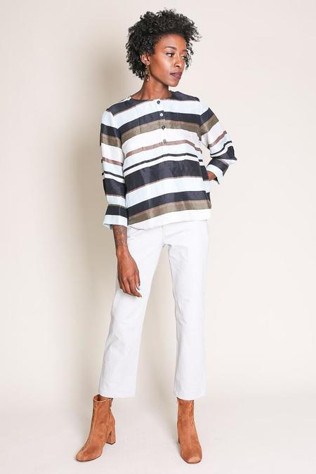 Apiece Apart El Sol Bib Top in Misty Morning Stripe