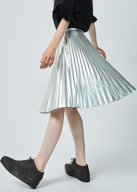 Hazel Brown Metallic Pleated Skirt
