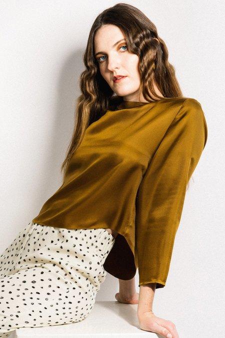 Beth Port Blouse - Gold Silk