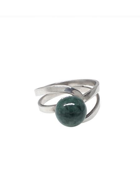 Beth Vintage Jewelry Wrapped Green Agate Ring / Sterling Silver