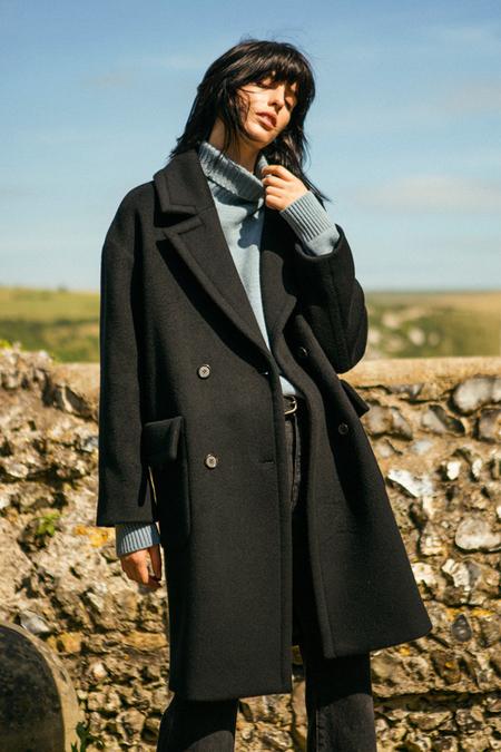 A. B Alice Wool Coat- Black