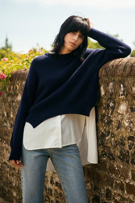 A. B Zipped Sweater- Navy