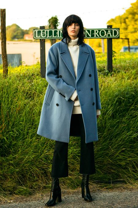 A. B Olsson Wool Coat- Dusty Blue