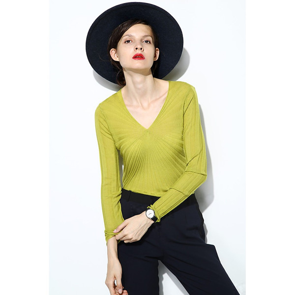 V-Neck Wool Textured Sweater