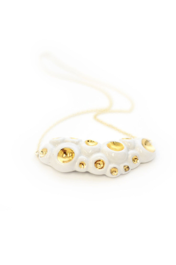 Porcelain and Stone White Porcelain and Gold Barnacle Necklace