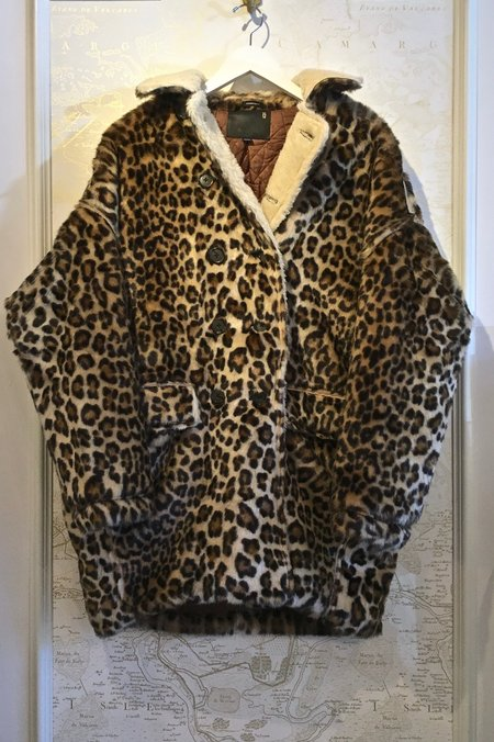 R13 Leopard Faux Fur Hunting Coat