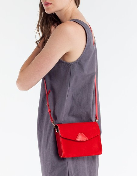VereVerto Mini Mox Clutch, Crossbody & Hip Pack Cherry- Suede