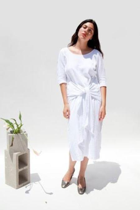Miranda Bennett Waist Dress Lined Cotton Gauze in White