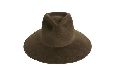 Clyde Wide Brim Pinch Hat in Dark Mink Angora