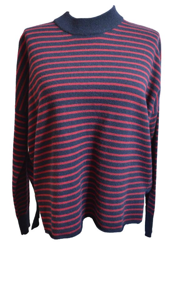 Demylee Blair Sweater w/ Burgundy & Navy Stripes