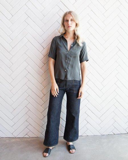 Esby Julie Silk Button-down - Pine