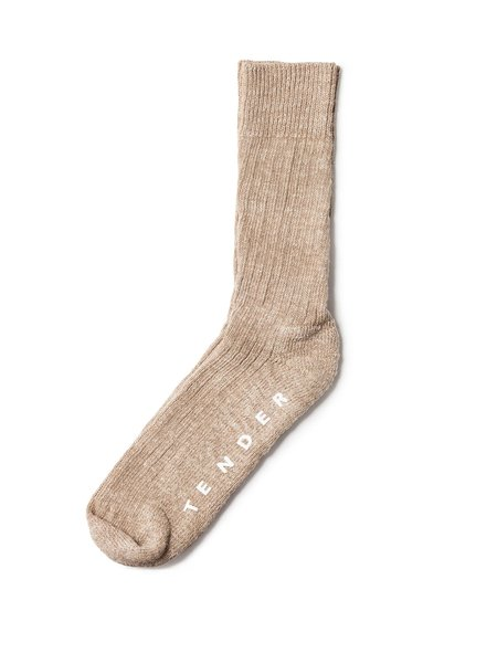 Tender Mens Hand Linked Socks Rinse Linen