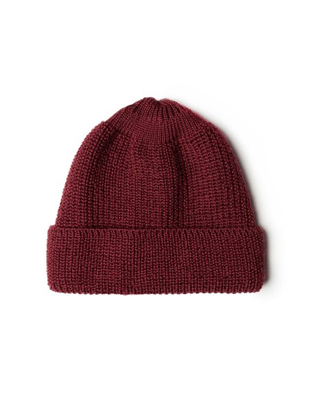 Neighbour Mens Pure Wool Knit Cap-  Bordeaux