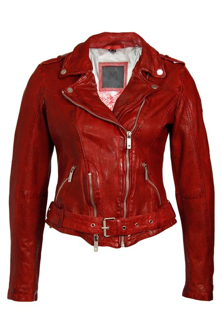 7 on Locust Wild Leather Jacket - Red
