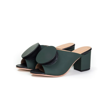 The Palatines salio mule w block heel & origami ornament - fir green super matte w black pebbled leather