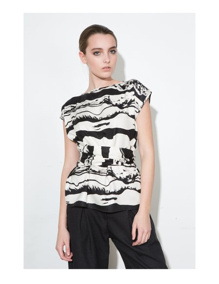 H. Fredriksson *F17 Landscape Wrap Top -  Black/White
