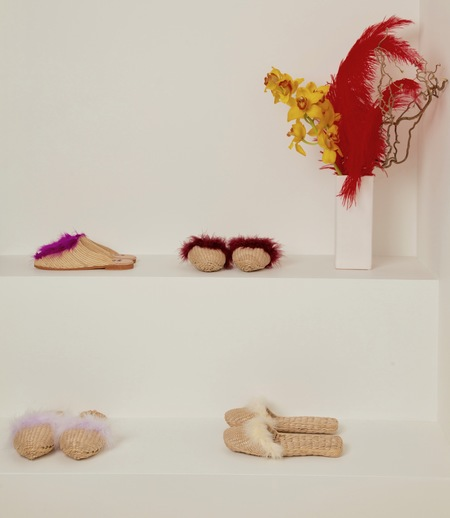 Folk Fortune Marabou Feather Straw Slippers