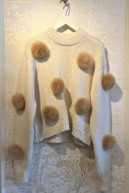 Tibi Alpaca Pompom Crop Sweater