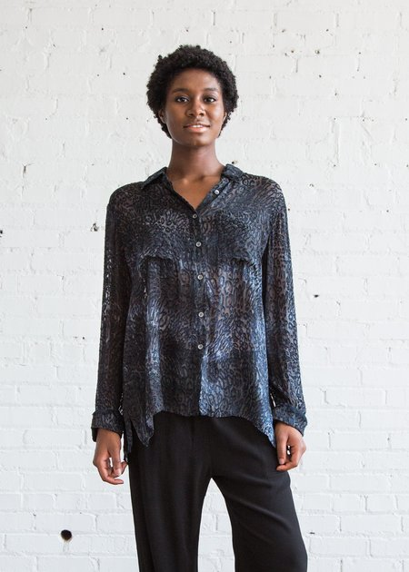 Raquel Allegra Oversized Button Up - Ink/Leopard