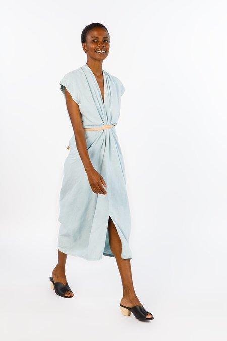 Miranda Bennett Knot Dress Silk Noil in Light Indigo