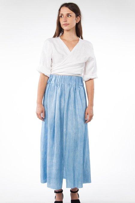 Miranda Bennett Paper Bag Skirt Linen in Light Indigo