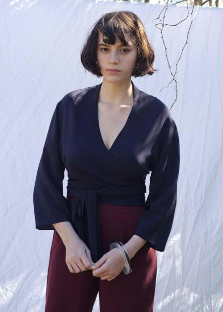 Penny Sage Mariah Wrap Shirt - Navy