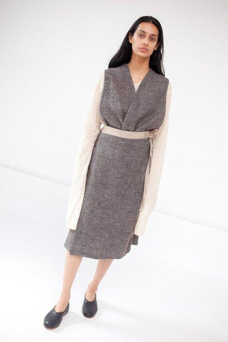 Cosmic Wonder Shetland Wool and Linen Apron Dress in Brown