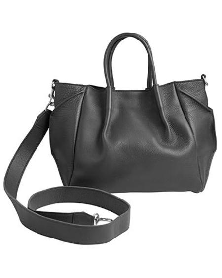 Oliveve Zoe Lined Tote In Black Pebble Cow Leather Wide Cross Body Strap