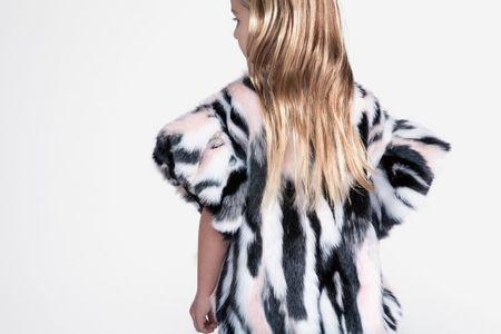 Kid's OMAMImini Rufflee sleeve high-low faux fur top pink himalayan