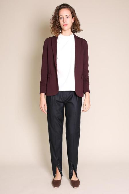 Majestic Single Button Blazer in Aubergine
