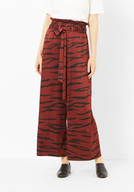 Ganni Red Tiger Silk Iona Pant