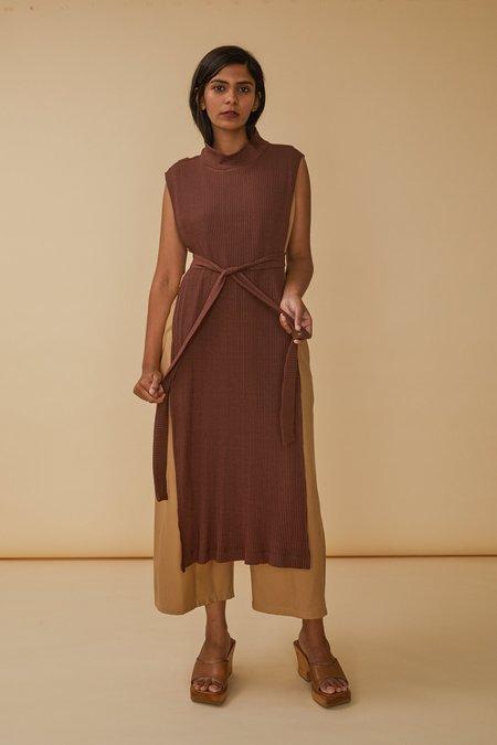 Wolcott : Takemoto Wayne Dicky Dress in Clove Rib Knit
