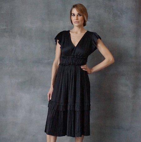 Ulla Johnson Bella Satin Black Dress