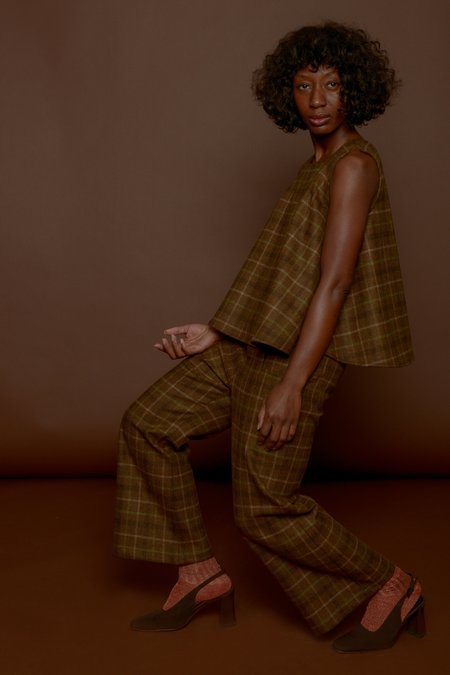 Wolcott : Takemoto Ella Top in Camel Plaid Wool
