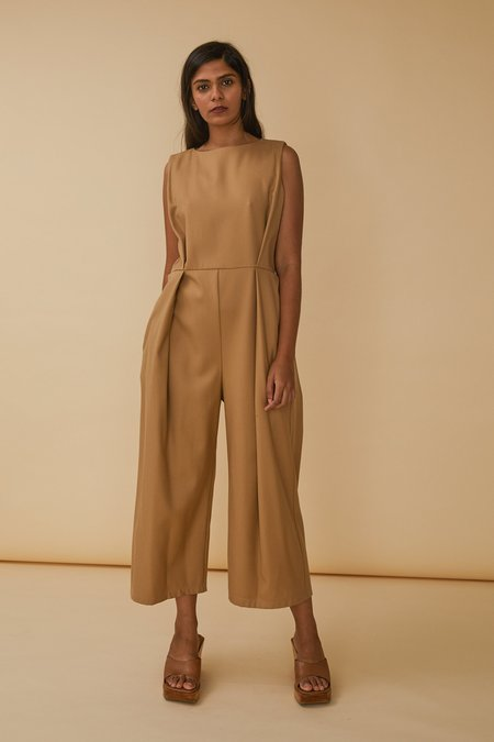 Wolcott : Takemoto Bushi Jumpsuit in Dune Worsted Wool Twill