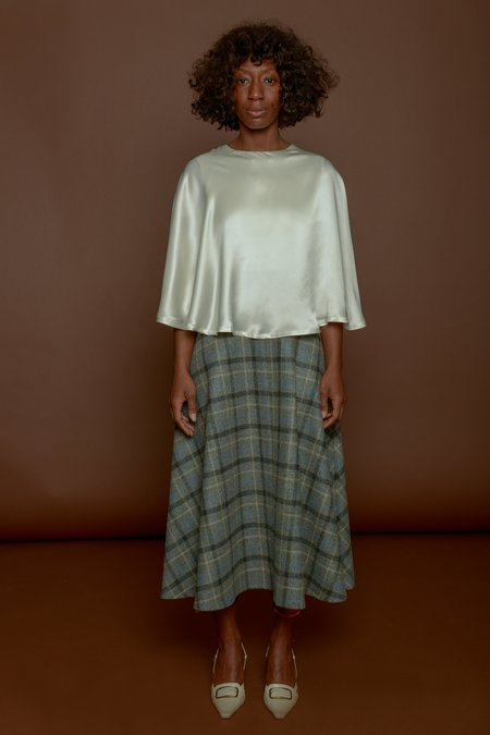 Wolcott : Takemoto Shadow Skirt in Grey Merino Wool Plaid