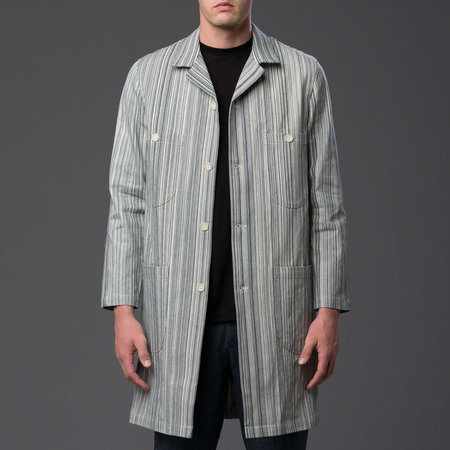 KRAMMER & STOUDT - Denim Chore Coat - Blue and White Railroad Stripe