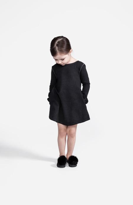 Kid's OMAMImini A-line Dress w/ Back and Pockets Ruffles Vintage Black